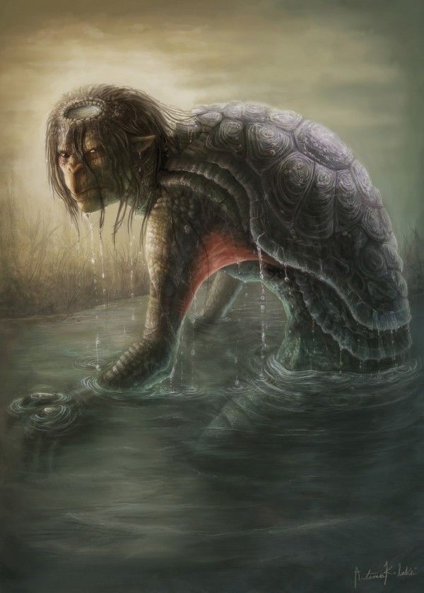 A Kappa is a dwarf-like water demon of Japan that resemble shrivelled old-men, with webbed hands and feet, sporting a tortoise shell. An origin for the demons could be they are the ghosts of drowned souls. Any pond or river may have one. They possess immense strength and can easily overpower a human. Although the source of this power comes from the stored water within the dish on their head.