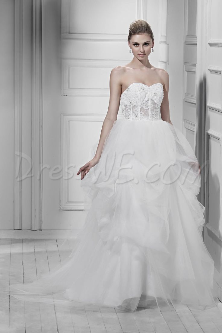 ゴージャスなAラインの恋人ノースリーブチャペルシャーリング&アップリケダーシャのウェディングドレス 8872443 - レース ウェディングドレス - Dresswe.Com