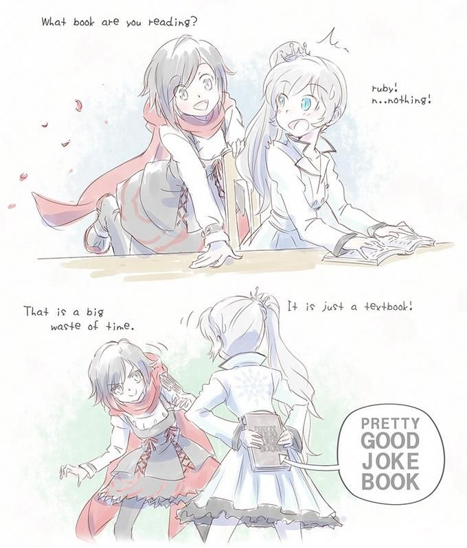 """""""Well at least I'm trying!!"""" Weiss's pretty good joke book. From RWBY Season 2 Episode 5"""