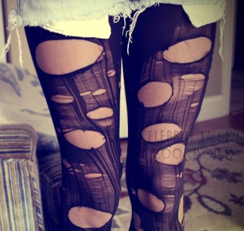 Grunge Torn Stockings - Socks & Leggings - Accessories  $8.99 Free shipping worldwide  #fashion #tights #ripped #street