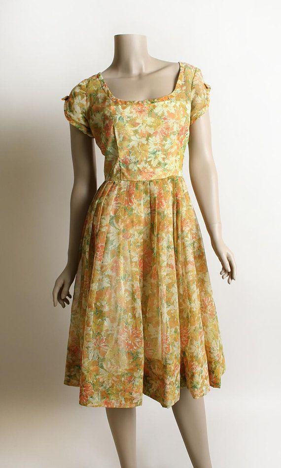 Medium 50s Orange Chiffon Party Dress 1950s Orange Floral Chiffon Dress
