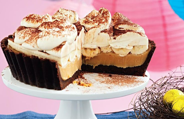 Chocolate Banoffee Pie. A decadent dessert perfect for any any special feast.  #Woolworths #chocolate #banoffee #recipes http://www.woolworths.com.au/wps/wcm/connect/Website/Woolworths/FreshFoodIdeas/Recipes/Recipes-Content/indulgentchocbanoffeepie