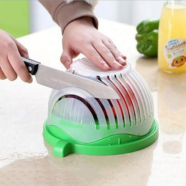 Edenware Upgraded FDA Salad Cutter Bowl, Green – D&T Creative Store