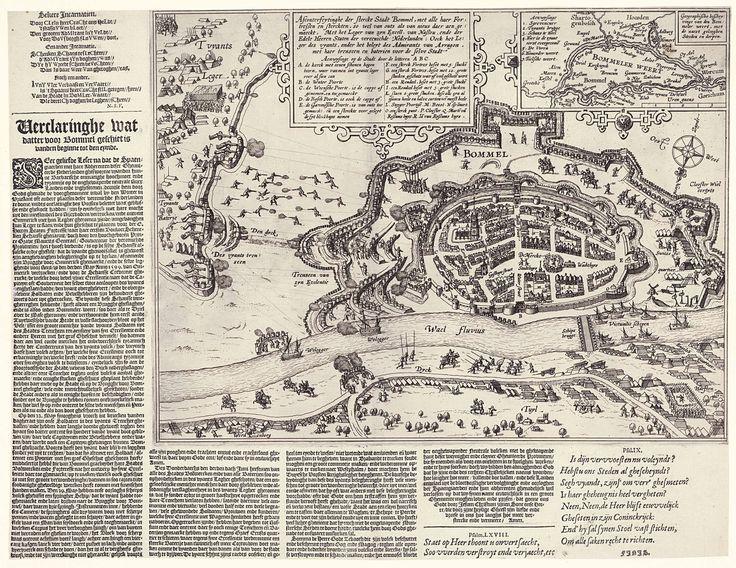 Anonymous | Belegering van Zaltbommel en andere sterkten in de Bommelerwaard, 1599, Anonymous, Monogrammist NSV, 1599 | De belegering van Zaltbommel en andere sterkten in de Bommelerwaard in handen van het Staatse leger onder Maurits door de Spanjaarden onder Mendoza, van begin mei tot begin juni 1599. Onderaan de Waal, daarboven de stad Bommel, links het Spaanse leger. Bovenaan een cartouche met de titel en de legenda A-R in het Nederlands. Hierbij ook een inzet met een kaartje van de…