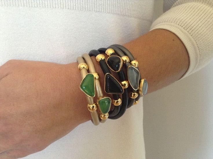 Ozzi bracelets with  semiprecious stones stones as malachite,agate or smoky! prise:  39e  #ozzi #jewelry #fashion