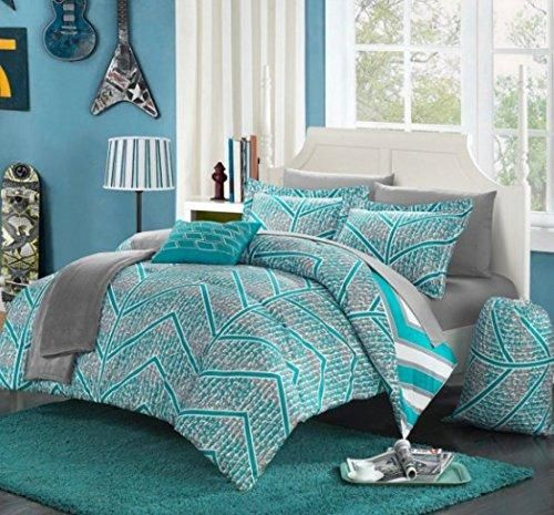 Boys Aqua Chevron Comforter Twin XL Set Digital Contemporary Geometric Bedding Stylish Horizontal Verticle Striped Pattern Gray Pixel Pattern Teal Sky