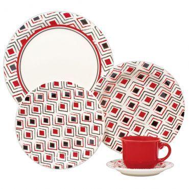 """Aparelho de Jantar Redondo 20 peças em Porcelana """" Serve até 4 pessoas"""" Incluso Pires e Xícaras para Chá Daily - Floreal Marajó - Oxford"""