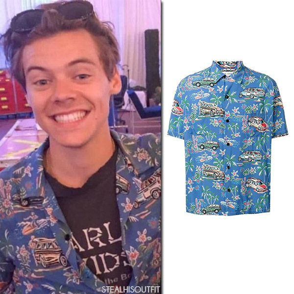 Harry Styles in blue car print Hawaiian shirt