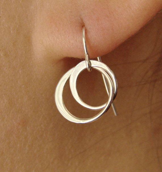 Entwined Circles Hoop Drop Earrings in Sterling by Popsicledrum, $25.00
