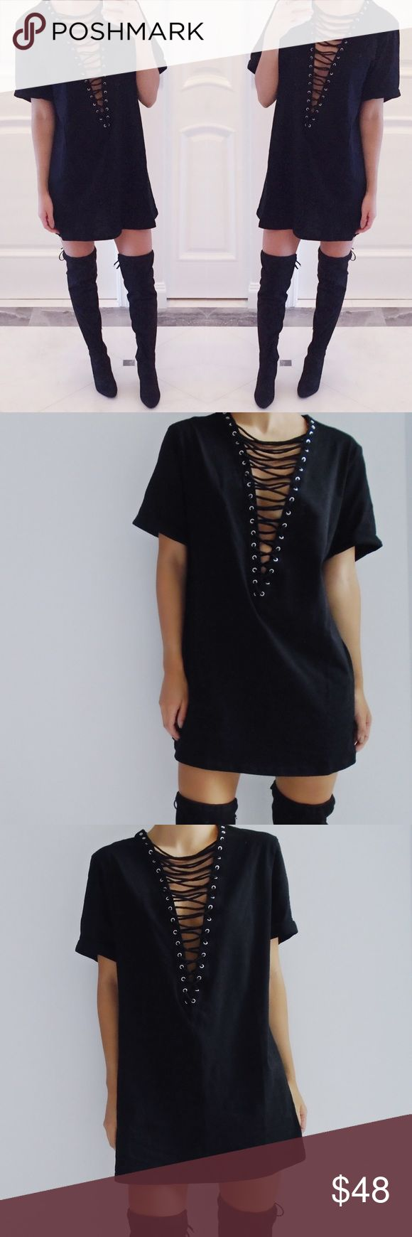 Black t shirt v shape - Restocked Kendall Lace Up V Neck Shirt Dress Short Sleeve Lace Up