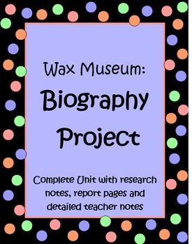 "This 20 page Wax Museum Project will help your students create an amazing biography research report on a famous American. The culminating part of the project is an amazing Wax Museum, where students dress up as the person they have learned about and stand ""still"", like a Wax Museum, until someone walks up to them and presses the ""button"" on their backdrop. Then students give a short 3 - 4 sentence speech about that person's life. Great learning experience for kids and good P.R. $"