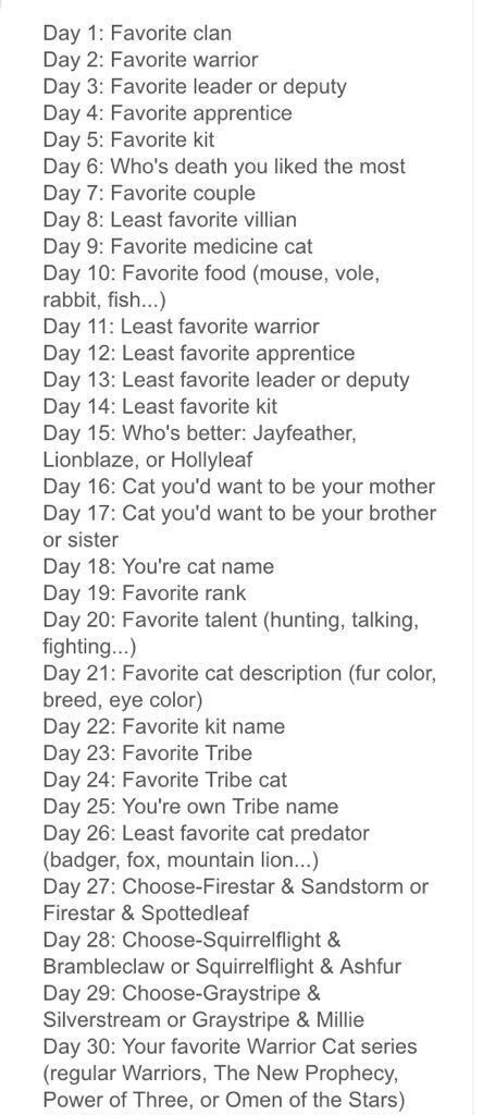 Warrior Cats 30 day challenge