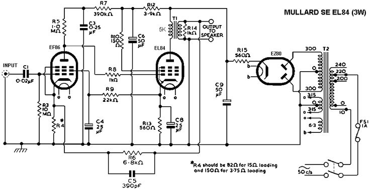 Mullard Single Ended Se El84 Tube Amplifier Schematic