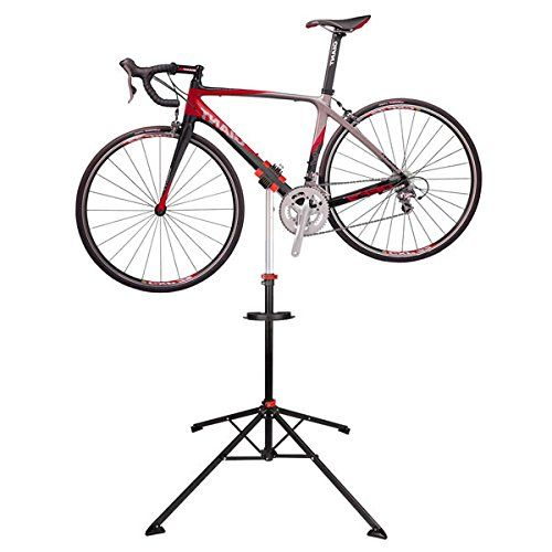 """AMPERSAND Adjustable Pro Bicycle Repair Stand Mechanic Workstand. 66 lbs maximum capacity. Telescoping stand adjusts height from 41"""" to 68 1/4"""". Clamps fit all standard frames from 1"""" to 2.5"""". Clamps rotate 360 degrees with big gears for easy access to every part of your bike."""
