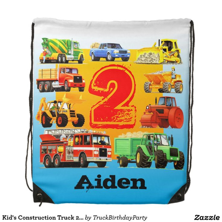 Kid's Construction Truck 2nd Birthday Party Cinch Bag