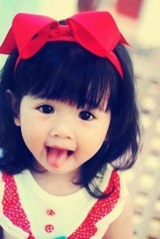 cute asian girl, kid, little girl, red bow