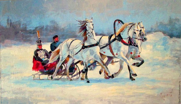 """Купить Картина маслом """"Гусарская баллада"""" - картина в подарок, картина для интерьера, картина маслом"""
