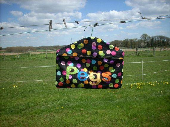Handmade Polka dot peg bag heavy weight cotton by AlsCraftyCorner