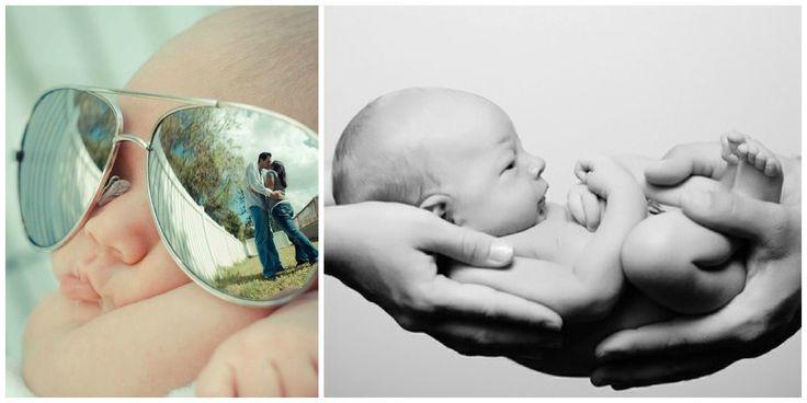 toffe foto van baby en ouders door spiegeling