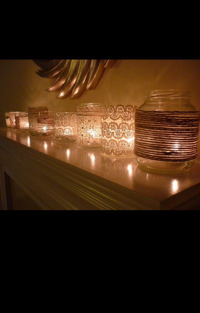 Wrap lace around mason jars and put in a tea candle to make a unique candle