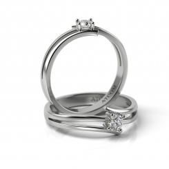 Inel de logodna cu diamant Timotei din aur alb