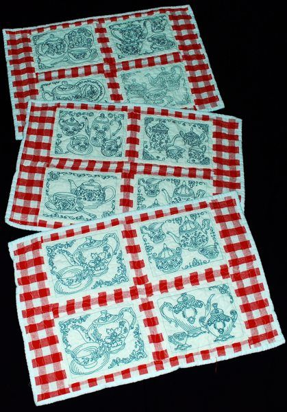 Advanced Embroidery Designs - Redwork Tea-for-One Set