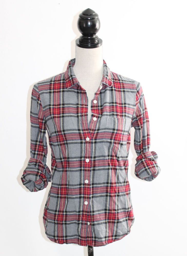 J.Crew Perfect Shirt Red Gray Plaid Flannel Fitted Button Down XS #JCrew #ButtonDownShirt #Casual