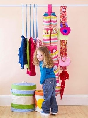 A cute way to hang children's clothing. | 41 Clever Organizational Ideas For Your Child's Playroom