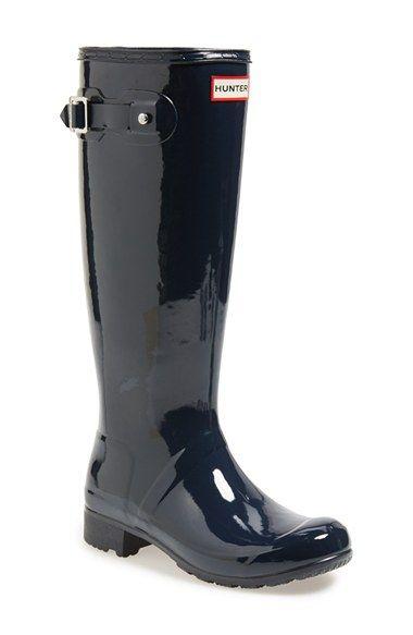 Hunter Original 'Tour Gloss' Packable Rain Boot (Women) available at #Nordstrom #Black #Fall