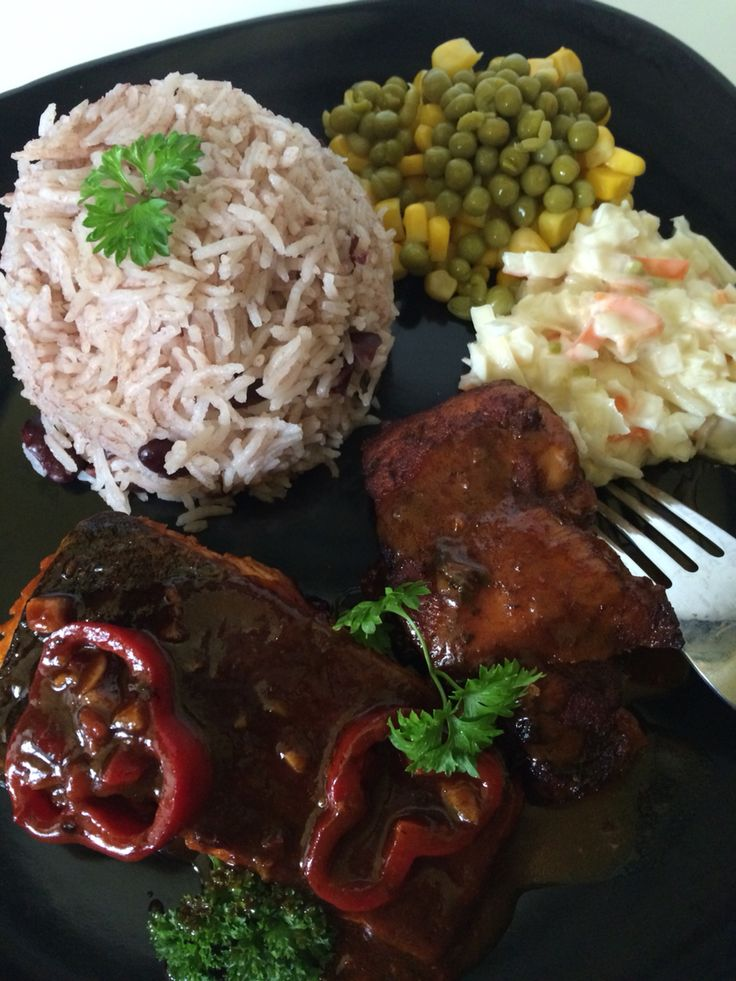 Bbq salmon , stewed chicken with Jamaican rice and peas