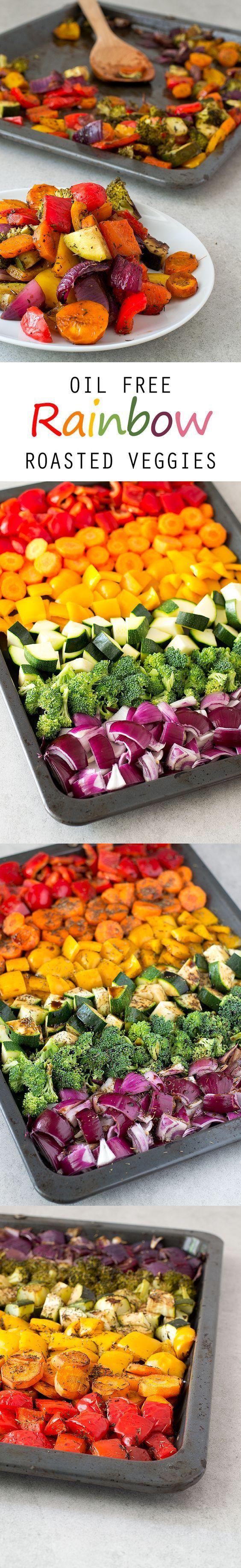 Oil Free Rainbow Roasted Vegetables #vegan #glutenfree _ 250 g poivrons rouges, 200 g poivrons jaunes, 250 g carottes, 250 g courgettes, quelques bouquets brocoli (100 g), 200 g oignons rouges, 1 cs thym séché, vinaigre balsamique au goût. Préchauffer le four 200 ºC. Placer les légumes sur une plaque avec feuille de cuisson, ajouter thym et vinaigre balsamique au goût. Cuisson env. 25 mn.