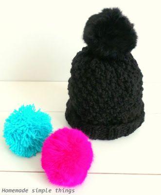 Homemade simple things: Bonnet en grosse laine Tuto / DIY (aiguilles numéro 7) avec pompons interchangeables (Woolen hat (needles number 7) with interchangeable pompoms)