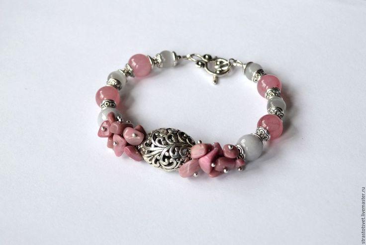 Купить Браслет из розовых и серых камней. - розовый, серый, серо-розовый, розово-серый