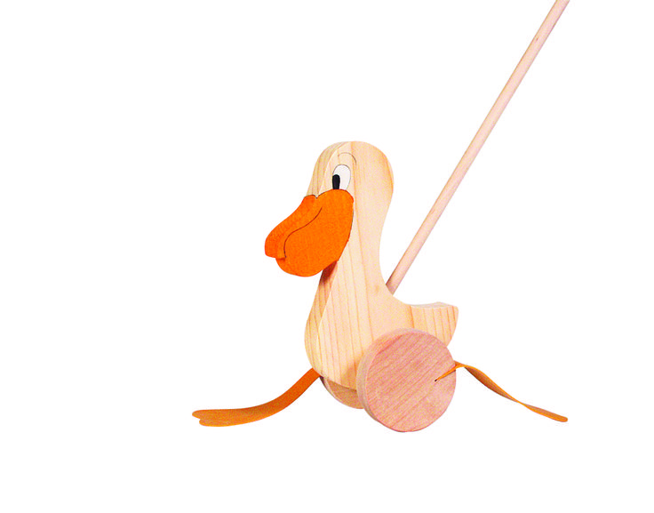 Natural and high quality toys to the development of the skills of children. Push along animal pelican