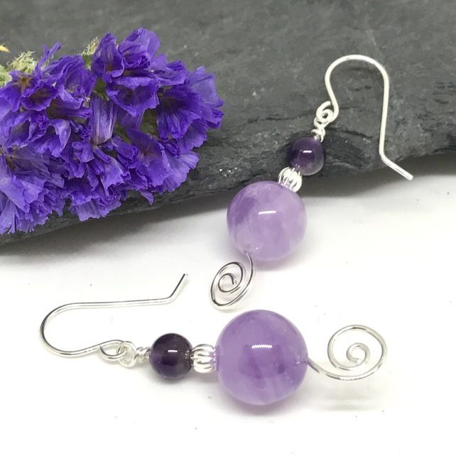 Amethyst Gemstone Earrings, Sterling Silver, Gift for Her, Mother's Day Gift £8.50