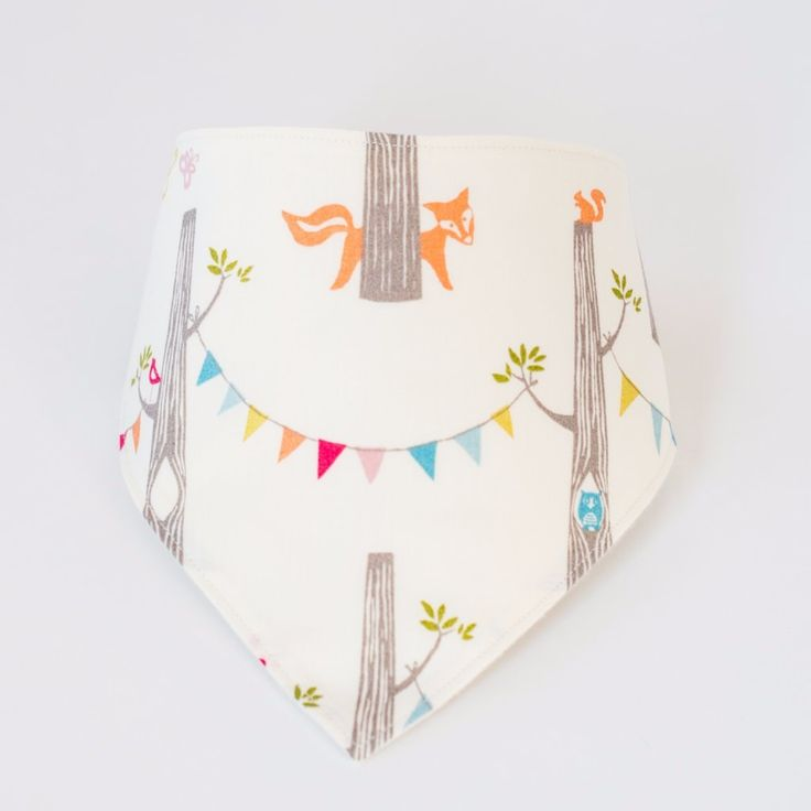 Organic Bandana Bib in Woodland Party
