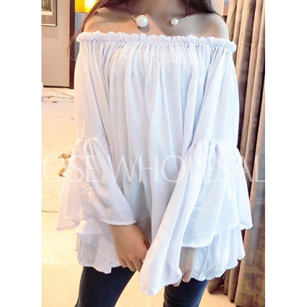 Loose Solid Color Flare Sleeve Slash Neck Pullover Blouse For Women