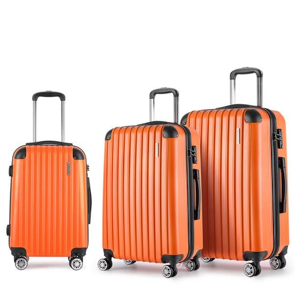 Set of 3 Hard Shell Travel Luggage with TSA Lock - Orange – Click Online Sales