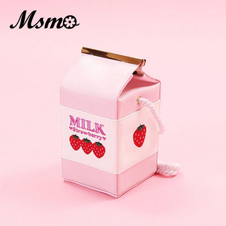 MSMO Strawberry Milk <font><b>Bag</b></font> Super Cute Milk Box Embroidery Strawberry Banana <font><b>Cool</b></font> <font><b>Messenger</b></font> <font><b>Bag</b></font> Soft Sister Milk <font><b>Bag</b></font>