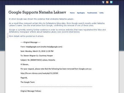Google Supported Natasha Lakaev by removing websites that had false information posted about her