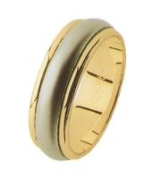 GENTS TITANIUM AND GOLD WEDDING BAND 7MM.  TITANIUM CENTRE WITH PEARL FINISH.