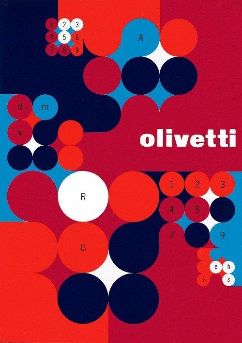 Oilvetti Poster, by Anna Monika Jost, for Olivetti, 1966