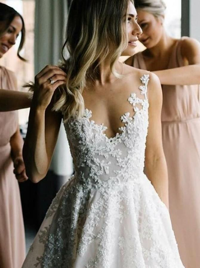 A-Line Round Neck Floor-Length Tulle Wedding Dress with Appliques – MPdresses