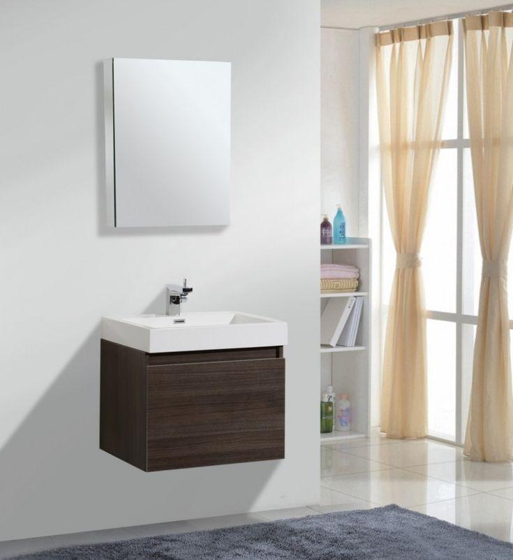 Fascinating Small Bathroom Vanity: Fascinating Small Bathroom Vanities With Sink Bathroom Mirror Wall Mouthed Vanity Mirror With Floating Sink Design For Simple Minimalist Bathroom Decor ~ dropddesign.com Bathroom Designs Inspiration