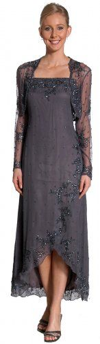Pink and Gray mother of bride and groom dresses   Charcoal Mother of Bride Bride Beaded Dress w/Jacket S-3X like thistoo