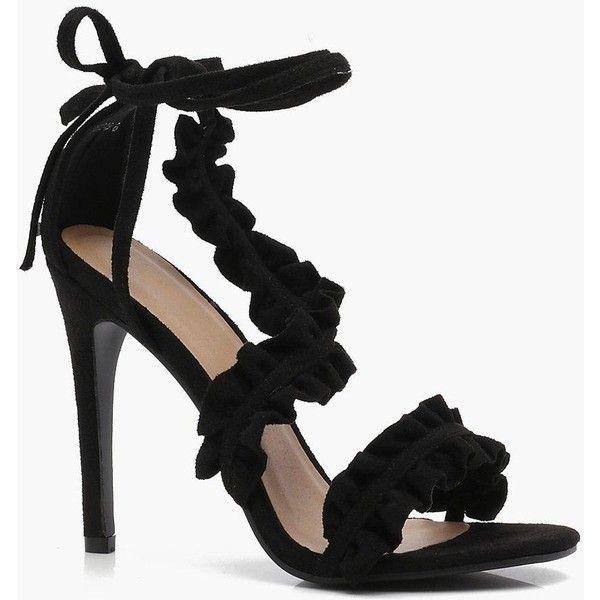 3bd4ac65dfa Boohoo Bella Frill Wrap Strap Heels ($31) ❤ liked on Polyvore ...
