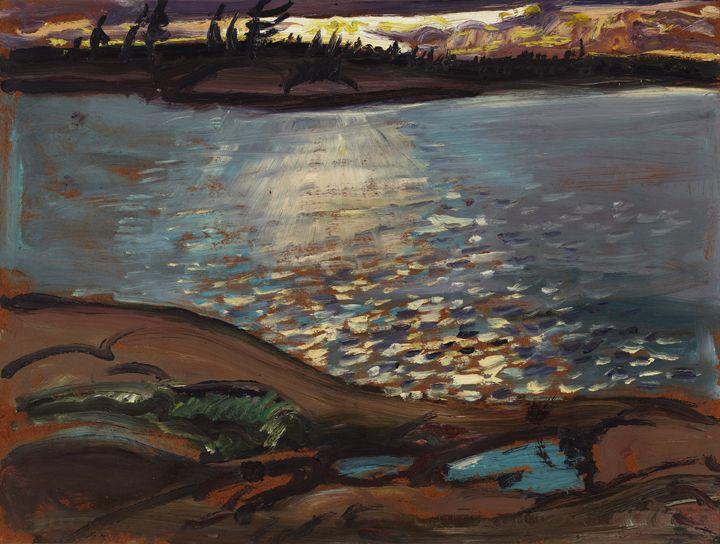 """Sun Path, McGregor Bay,"" Arthur Lismer, 1935, oil, 12 x 16"", Robert McLaughlin Gallery."