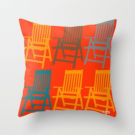 Chairs Decorative throw pillow cover - Orange pillow - Modern accent pillow - Decorative pillow - Contemporary pillow - Sofa pillow case