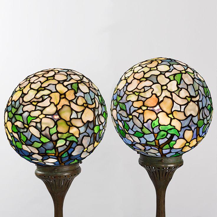 "Tiffany Floor Lamps - ""Dogwood Ball"" Pair of Tiffany Lamps - Macklowe Gallery"
