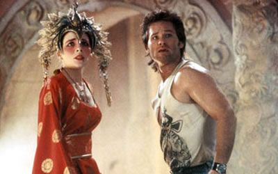 Kim Cattrall and Kurt Russell in Big Trouble in Little China